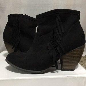Black sued ankle heeled booties